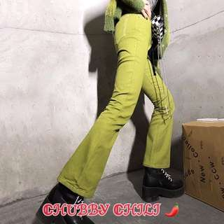 🔗訂製款芥末綠微喇叭牛仔褲🔗