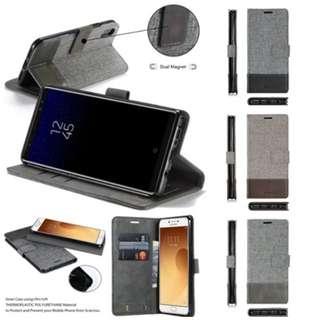 Samsung Galaxy Note 8 S8 S7 S7edge C9 C5 Pro 等等型號帆布可站立插卡電話皮套