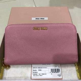 BNIB Miu Miu Madras Zip Around Rosa Wallet