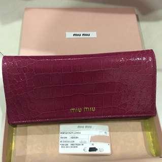 BNIB Miu Miu St Cocco Lux Button Azalea Wallet