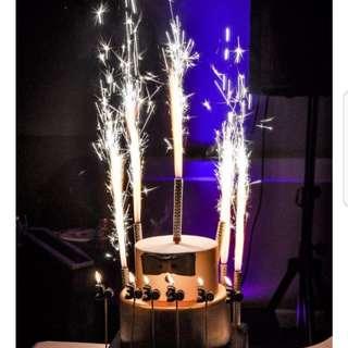 Firework sparkles birthday candle