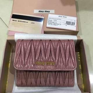 BNIB Miu Miu Matelasse Lux Loto (pink) wallet