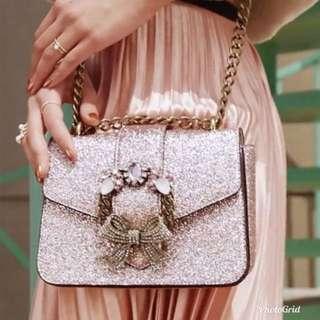 Aldo glitter jewel bag