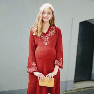 孕婦蜜糖紅針織連身裙