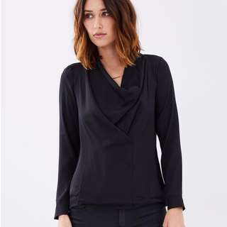 MNG Black Blouse - Size Medium RRP $80 Brand New with Tags
