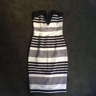 Black & White strapless dress