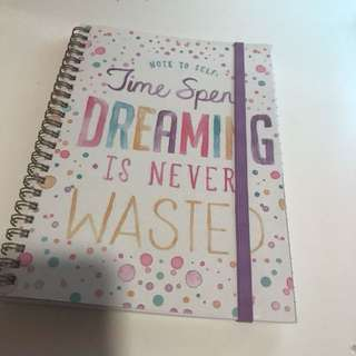 """Typo """"note to self: time spent dreaming is never wasted"""" pretty notebook"""