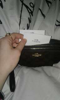 Brand New Coach Wristlet (brown and black)