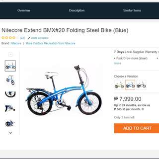 Nitecore Extend BMX#20 Folding Steel Bike (Blue)