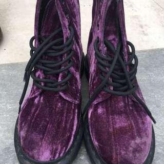 Dr. Martens purple velvet