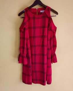LOFT - Plaid Ruffle Cold Shoulder Dress