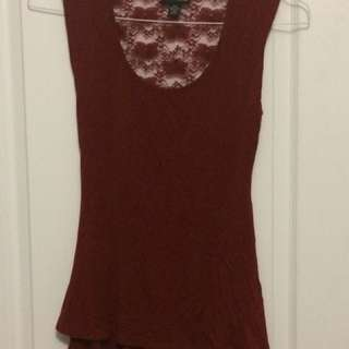Selections Maroon Blouse with Lace Back - Medium