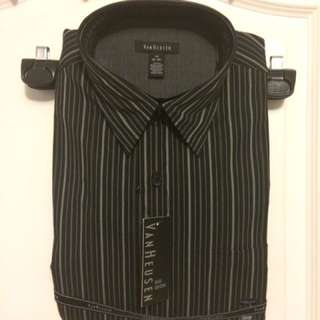 Van Heusen Black Striped Button Down - Medium