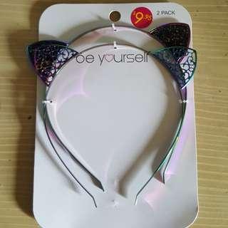 2x Rainbow Cat Ear Headbands