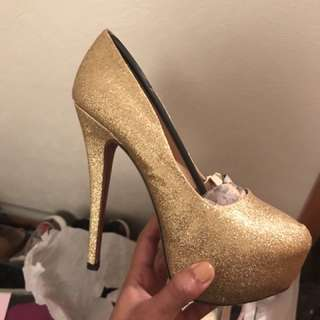 Gold Platform Pumps