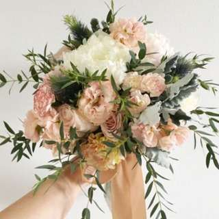 Rustic Pastel Bouquet with Peonies and Eustomas Roses / Bridal Bouquet