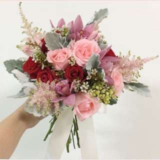 Wedding Bouquet in Red and Pink Roses with Astilbes and Orchids Cymbidium