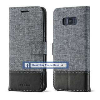 特別款式 出口品質 MUXMA 三星 S8 帆布 插卡 座台 超薄 手機皮套
