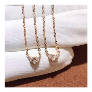 精緻心型鑽石18k玫瑰金頸鏈❤️全新可愛情人節禮物
