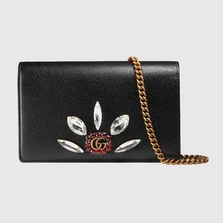 Gucci Leather Mini Chain Bag with Double G and Crystals Black