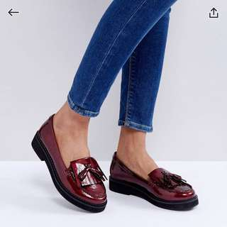 ASOS MORSE CODE Flat Shoes in Oxblood