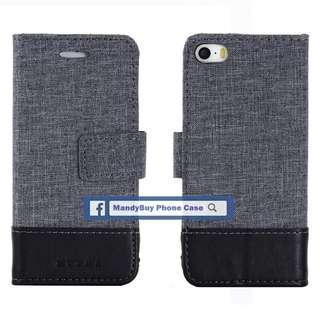 特別款式 出口品質 MUXMA iPhone 5S SE 帆布 插卡 座台 超薄 手機皮套