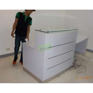 CUSTOMIZE RECEPTION TABLE WITH GLASS COUNTERTOP-KHOMI