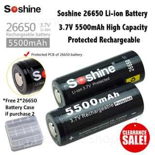 26650 Battery - Soshine 5500mAh 3.7V 26650 Protected Rechargeable Li-ion
