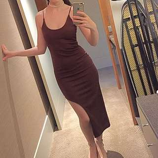 Missguided Brown High Slit Maxi Dress Size 6 8 Formal