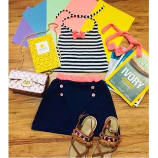 Stripe Backless Top with Skirt