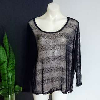 Women's size M (10-12) Gorgeous Black batwing Sheer Hi-low cover up - AS NEW