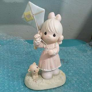 Buy 3 Get 1 Free : Precious Moments Flying Kite Girl With Kitten Cat Figurine : Sending My Love Your Way