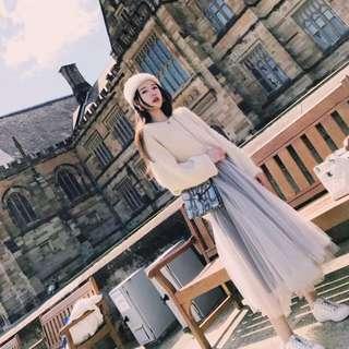《預購》韓國chic-秋冬必備毛衣套裝,仙女網紗裙蓬蓬裙,兩件式-實拍圖請私訊
