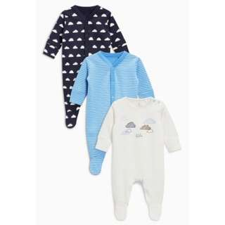 Ecru Cloud Sleepsuits 3 Pack