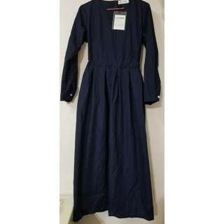 韓國文青氣質連身裙(深藍)
