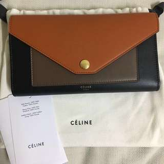 CELINE POCKET TRIFOLDED MULTIFUNCTION IN MULTICOLOUR SHINY SMOOTH CALFSKIN (99% new)
