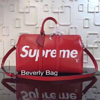 jual tas LV Keepall Supreme Epi LEATHER MIRROR - red