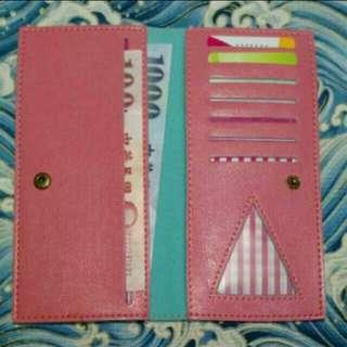 粉紅色薄款長夾錢包 (不含擺飾物)