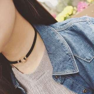 韓款鎖骨頸鍊,耳環