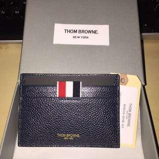 Thom Browne Credit Card Holder In Navy Pebble Grain