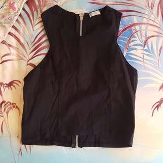 black zipper crop top