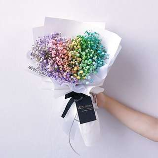 Rainbow Baby's Breath | Valentine's Day gift | Fresh Flower Bouquet