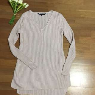 French Connection pale pink ribbed jumper