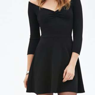 Forever 21 Black Skater Textured Dress