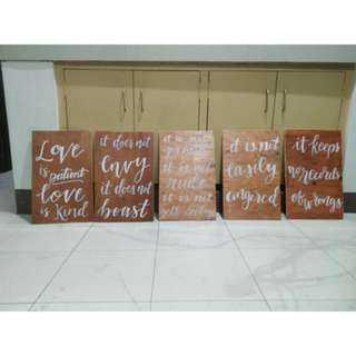 REPRICED: Hand-painted calligraphy wedding statements on varnished wooden planks