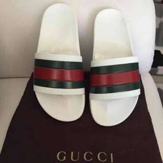 White Gucci Sliders 100% Authentic