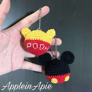 Handmade Amigurumi Crochet mickey mouse / pooh bear keychain / ball chain