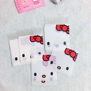 50pcs x 10*10cm+3cm Hello Kitty Self Adhesive Cookies Bag White