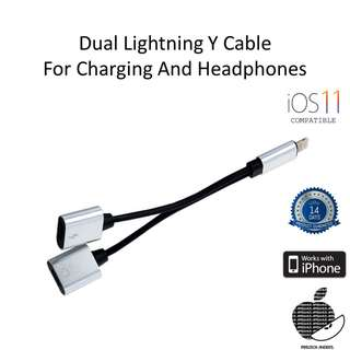 Lightning Dual Port Cable for Iphone and Ipad IOS 11