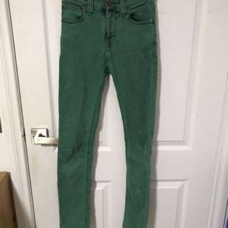 Nudie Jeans Green Acid Wash High Waisted Jeans